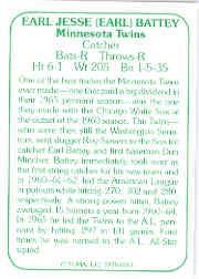 1978 TCMA 60'S I #113 Earl Battey back image