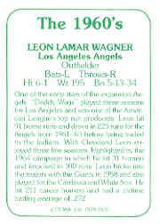 1978 TCMA 60'S I #125A Leon Wagner back image