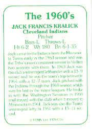 1978 TCMA 60'S I #134 Jack Kralick back image