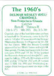 1978 TCMA 60'S I #144 Del Crandall back image