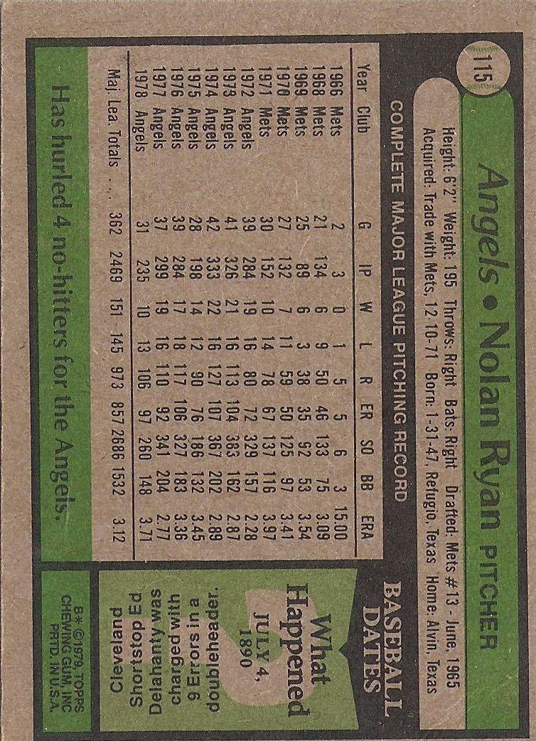 1979 Topps #115 Nolan Ryan back image