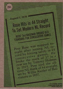 1979 Topps #204 Pete Rose RB back image