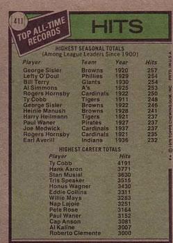 1979 Topps #411 George Sisler ATL/Ty Cobb back image