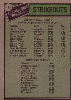 1979 Topps #417 Nolan Ryan ATL DP/Walter Johnson back image