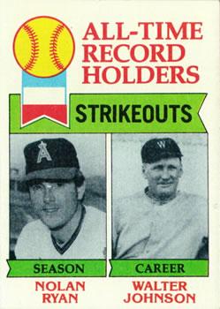 1979 Topps #417 Nolan Ryan ATL DP/Walter Johnson