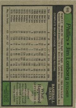 1979 Topps #446 Jim Lonborg back image