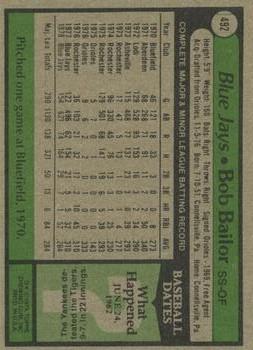 1979 Topps #492 Bob Bailor back image