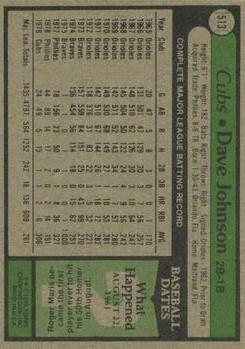 1979 Topps #513 Dave Johnson back image