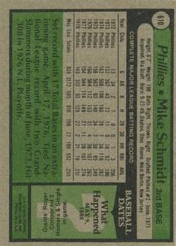 1979 Topps #610 Mike Schmidt back image