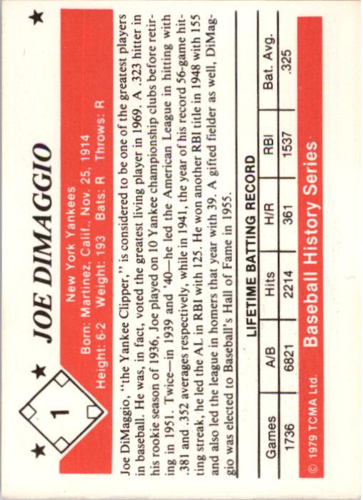 1979 TCMA 50'S #1 Joe DiMaggio back image