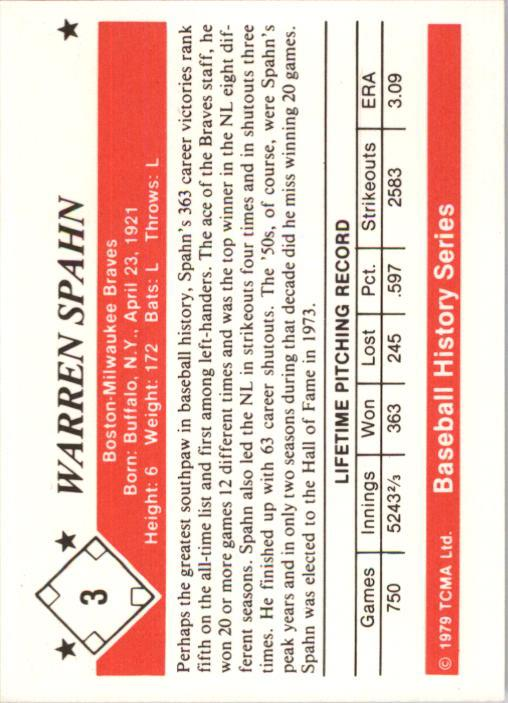 1979 TCMA 50'S #3 Warren Spahn back image