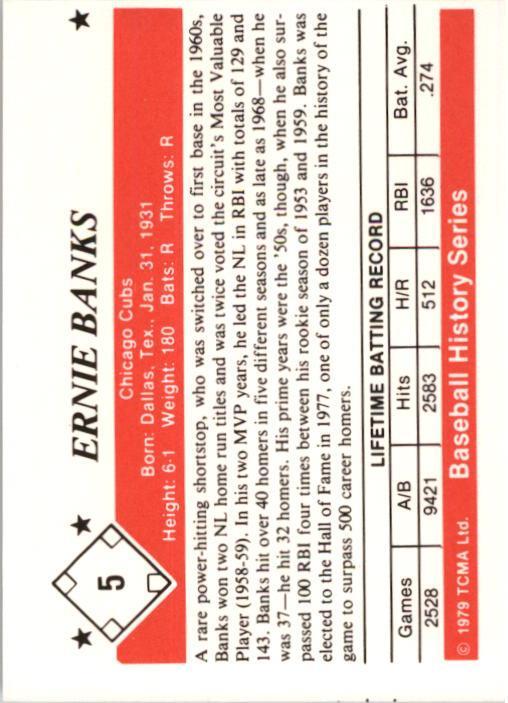 1979 TCMA 50'S #5 Ernie Banks back image