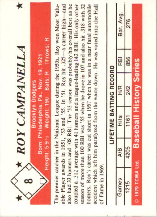 1979 TCMA 50'S #8 Roy Campanella back image