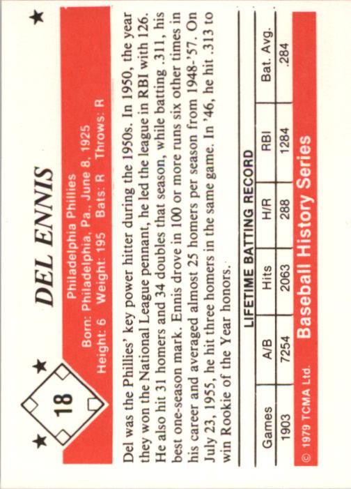 1979 TCMA 50'S #18 Del Ennis back image