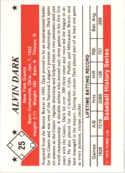 1979 TCMA 50'S #25 Alvin Dark back image