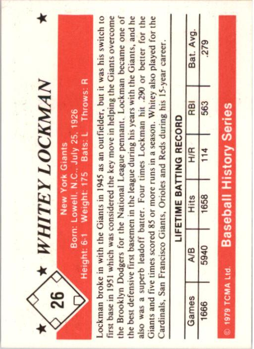 1979 TCMA 50'S #26 Whitey Lockman back image