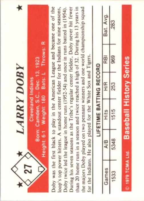 1979 TCMA 50'S #27 Larry Doby back image