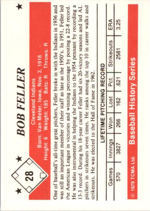 1979 TCMA 50'S #28 Bob Feller back image