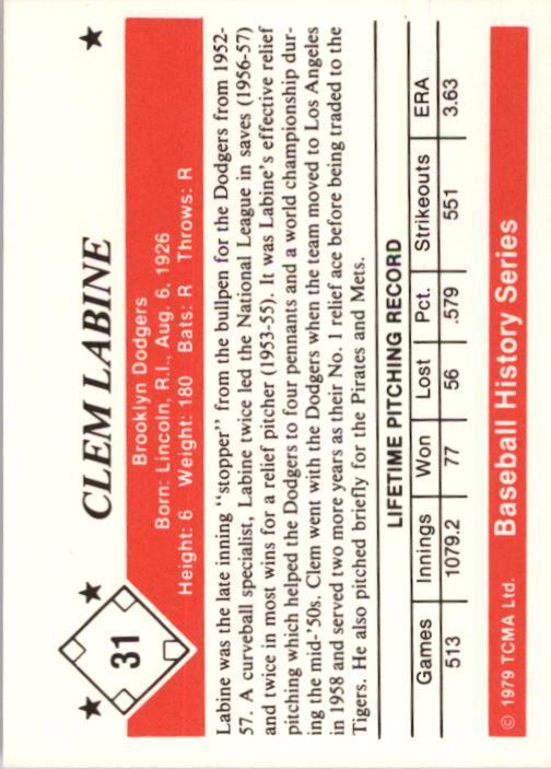 1979 TCMA 50'S #31 Clem Labine back image