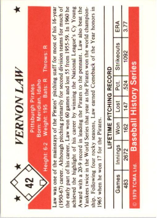 1979 TCMA 50'S #42 Vernon Law back image