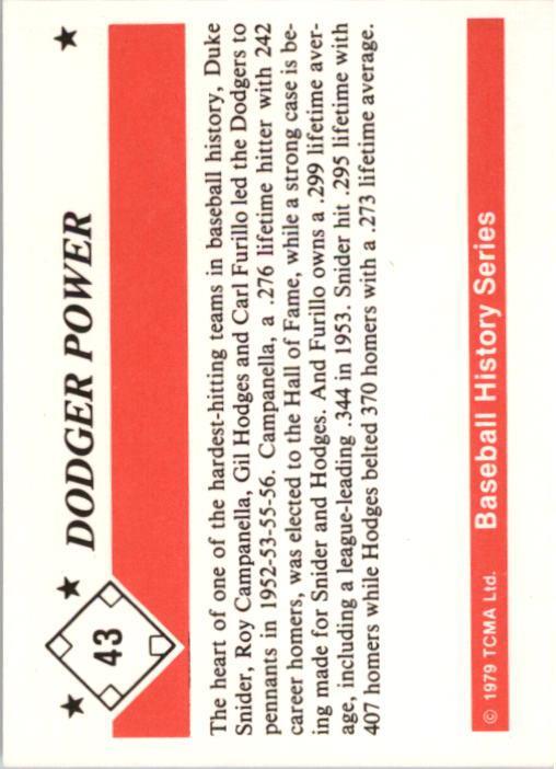 1979 TCMA 50'S #43 Dodger Power back image
