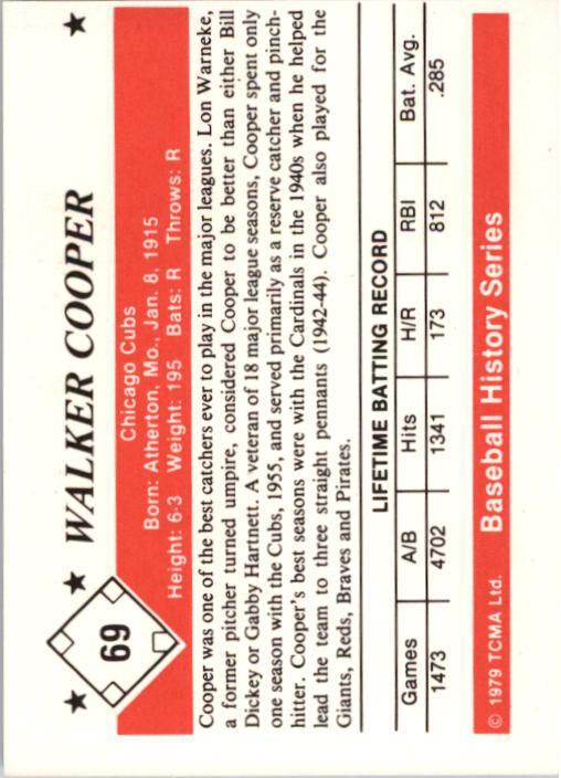 1979 TCMA 50'S #69 Walker Cooper back image