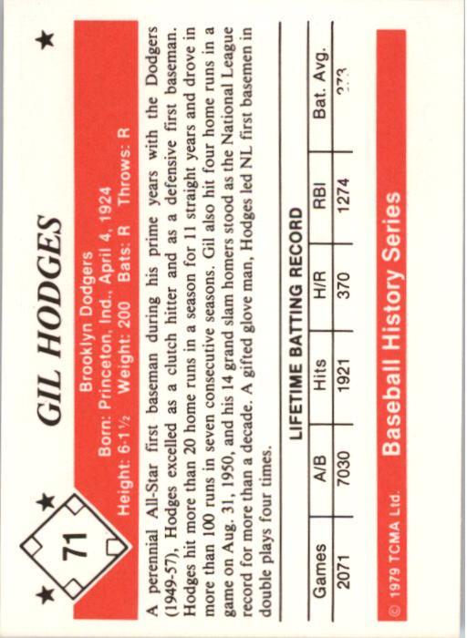 1979 TCMA 50'S #71 Gil Hodges back image