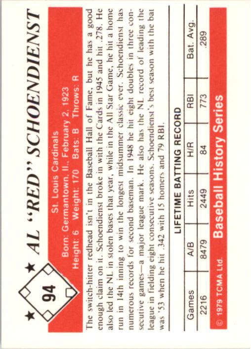 1979 TCMA 50'S #94 Al Schoendienst back image