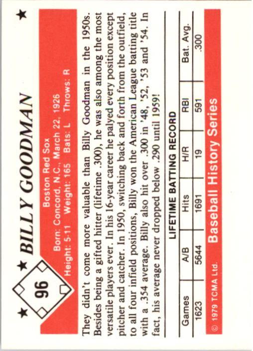 1979 TCMA 50'S #96 Billy Goodman back image