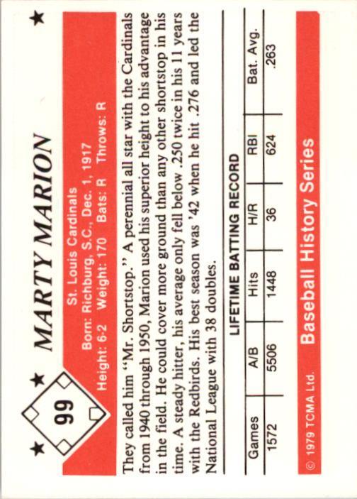 1979 TCMA 50'S #99 Marty Marion back image