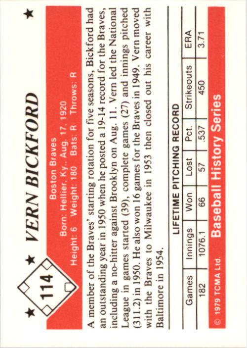1979 TCMA 50'S #114 Vern Bickford back image