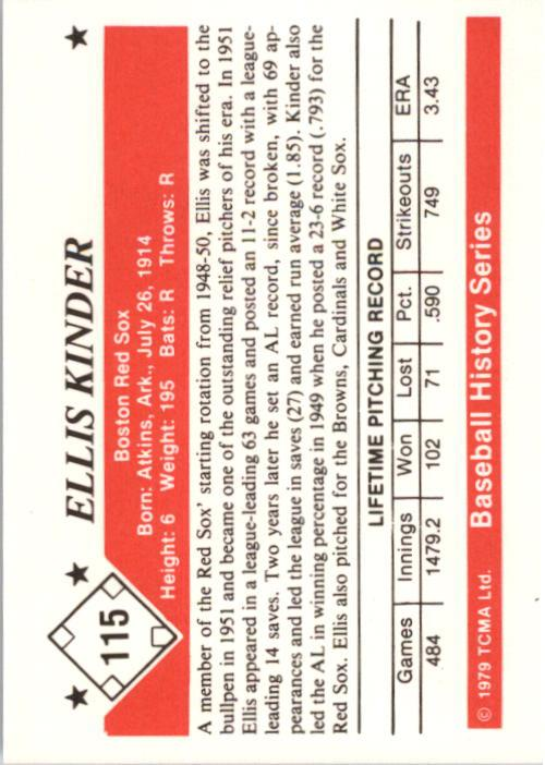 1979 TCMA 50'S #115 Ellis Kinder back image
