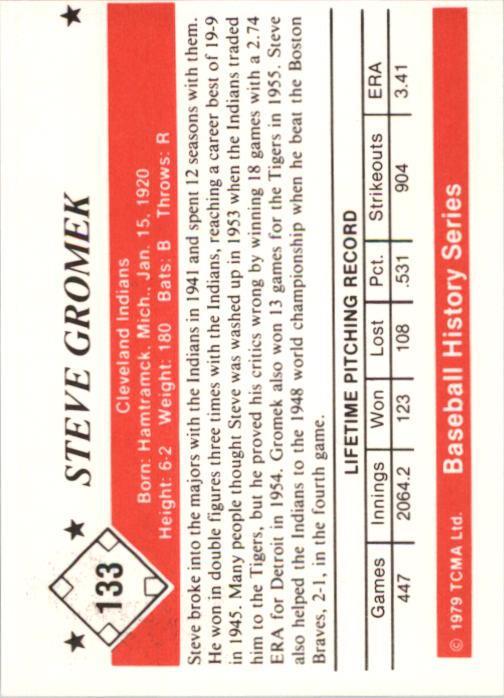 1979 TCMA 50'S #133 Steve Gromek back image