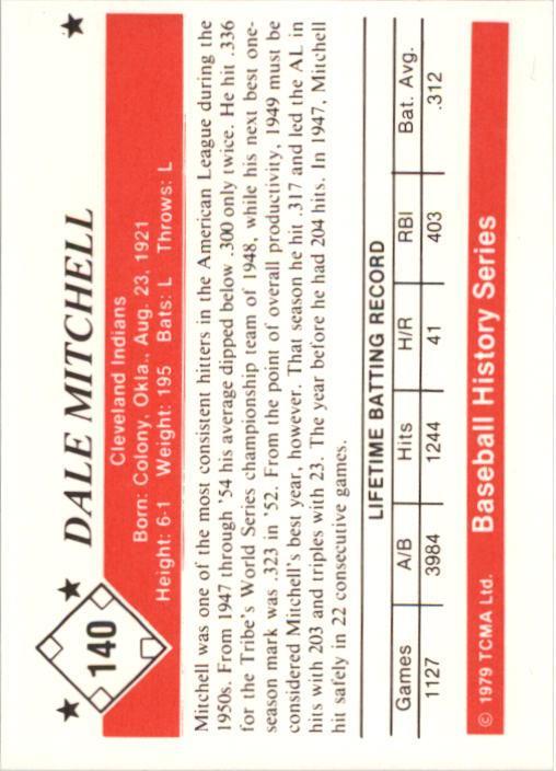 1979 TCMA 50'S #140 Dale Mitchell back image