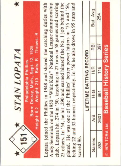 1979 TCMA 50'S #151 Stan Lopata back image