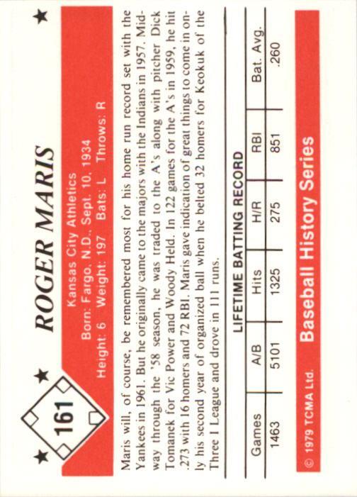 1979 TCMA 50'S #161 Roger Maris back image
