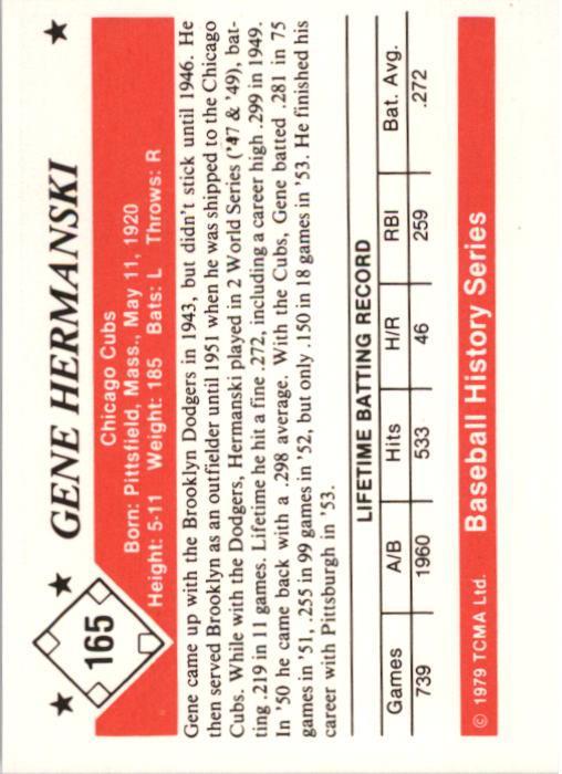 1979 TCMA 50'S #165 Gene Hermanski back image