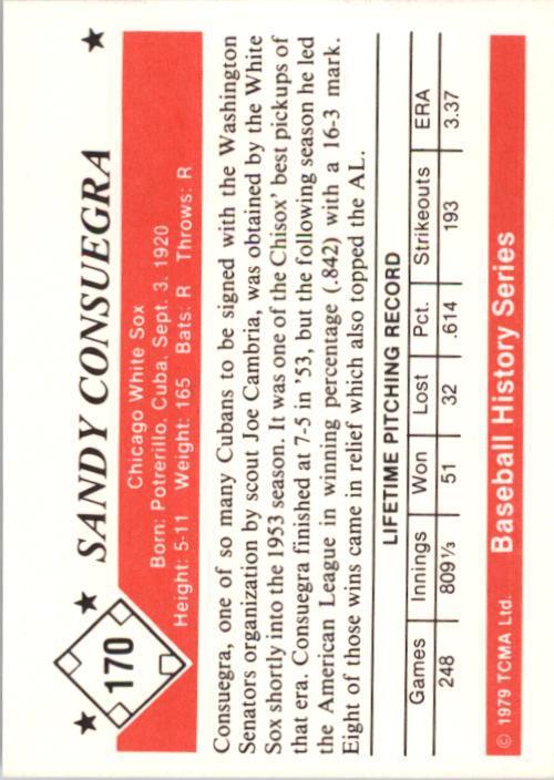 1979 TCMA 50'S #170 Sandy Consuegra back image