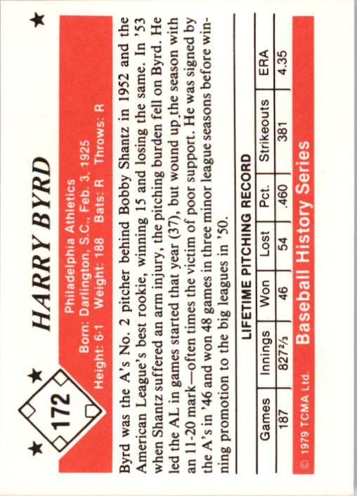 1979 TCMA 50'S #172 Harry Byrd back image