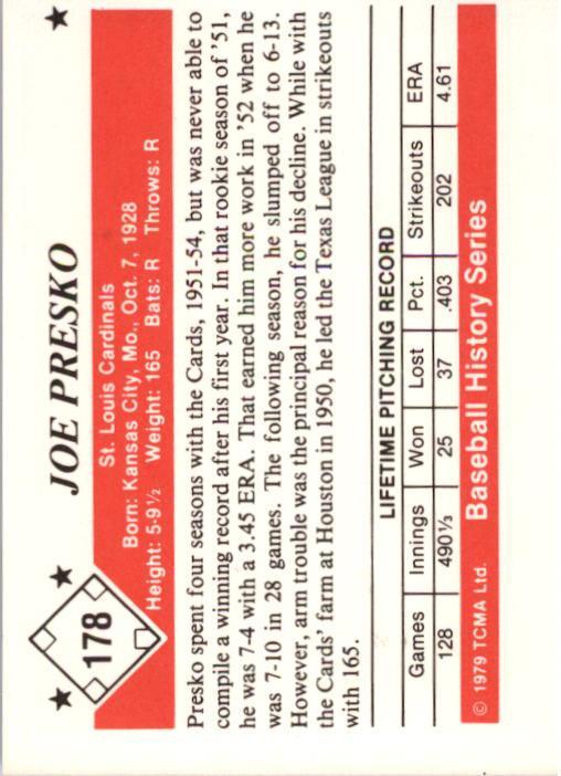 1979 TCMA 50'S #178 Joe Presko back image