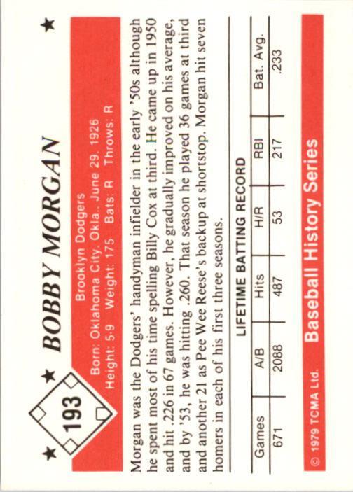 1979 TCMA 50'S #193 Bobby Morgan back image