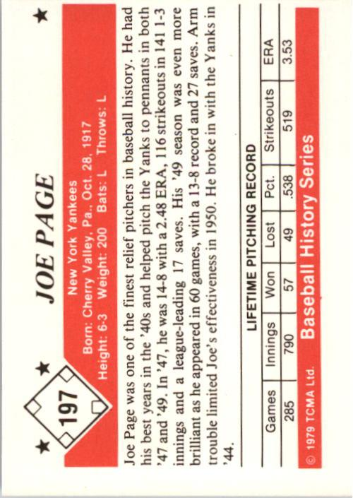 1979 TCMA 50'S #197 Joe Page back image