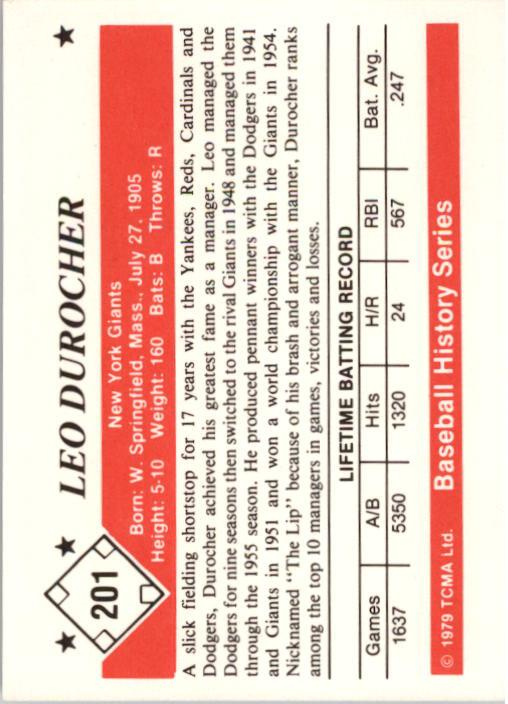 1979 TCMA 50'S #201 Leo Durocher back image