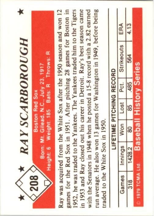1979 TCMA 50'S #208 Ray Scarborough back image