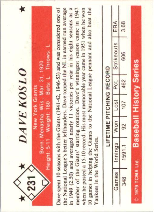 1979 TCMA 50'S #231 Dave Koslo back image