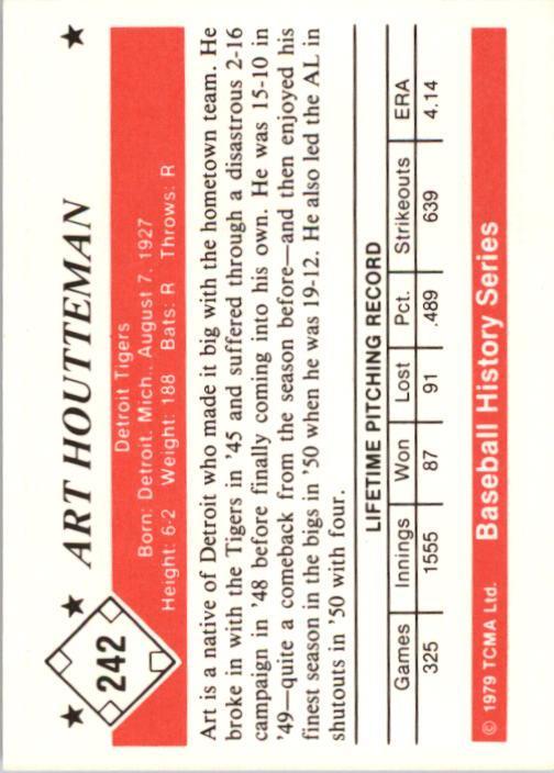 1979 TCMA 50'S #242 Art Houtteman back image