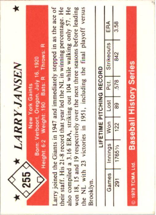 1979 TCMA 50'S #255 Larry Jansen back image