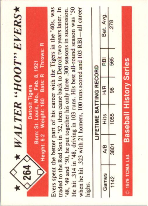 1979 TCMA 50'S #264 Walter Evers back image