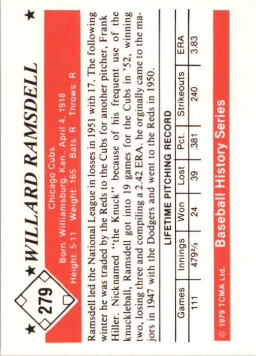 1979 TCMA 50'S #279 Willard Ramsdell back image