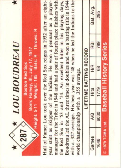 1979 TCMA 50'S #287 Lou Boudreau back image